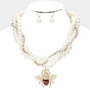 Honey Bee Braided Pearl Tennis Necklace & Earrings